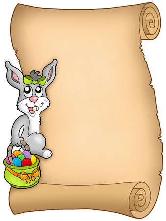 Easter parchment with bunny - color illustration. illustration