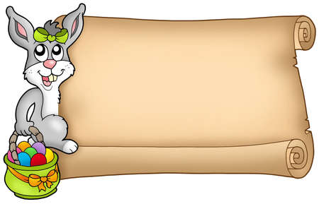 Easter scroll with cute bunny - color illustration. illustration
