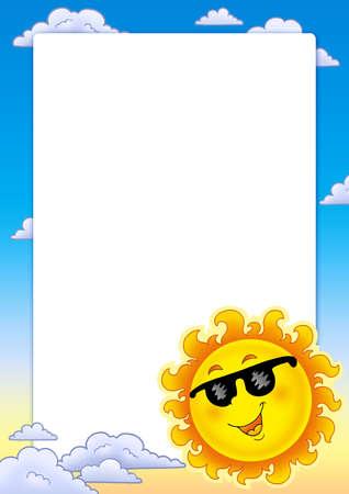Frame with spring Sun - color illustration. Stock Illustration - 6335471