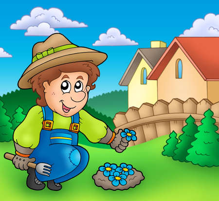 Gardener planting flowers - color illustration. Stock Illustration - 6335468