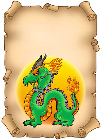 classical mythology character: Parchment with Chinese dragon - color illustration. Stock Photo