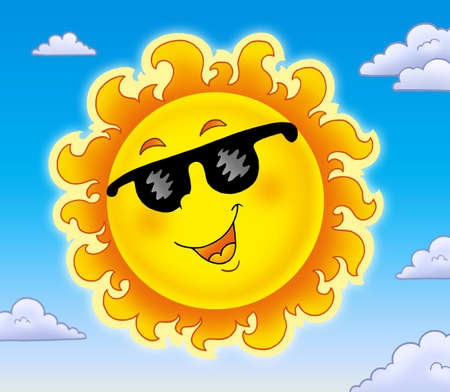 smiling sun: Spring Sun with sunglasses on sky - color illustration. Stock Photo