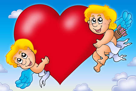 Two Cupids holding heart on sky - color illustration. illustration