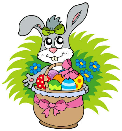 Easter bunny with eggs in basket Vector