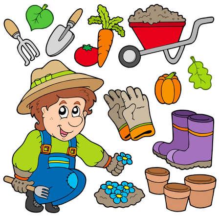 Jardinero con diferentes objetos Ilustración de vector