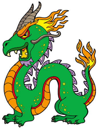 classical mythology character: Chinese dragon on white background