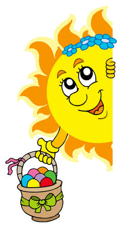 Lurking Sun with Easter eggs Vector Illustration