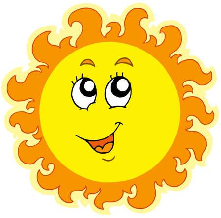 el sol: Primavera Sun sobre fondo blanco