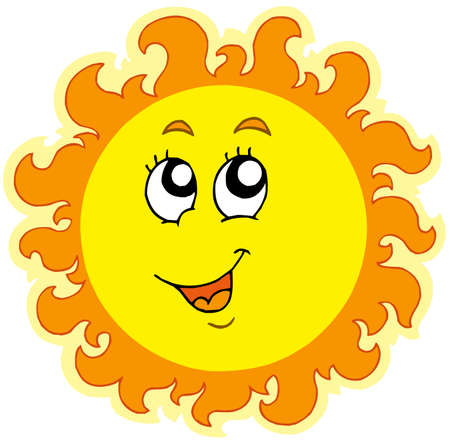 and the sun: Spring Sun on white background