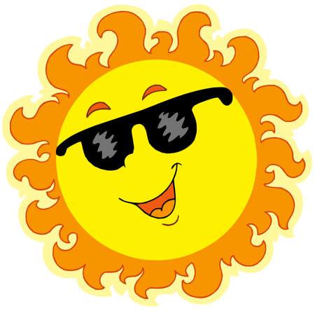 Spring Sun with sunglasses Ilustrace