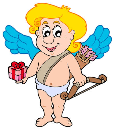 Valentine Cupid with gift Vector