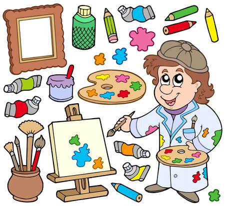 art and craft equipment: Colecci�n del artista sobre fondo blanco - ilustraci�n vectorial. Vectores