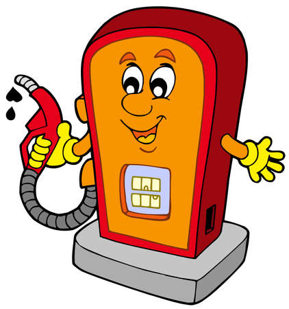 Cartoon gas station - vector illustration. Stock Vector - 6370088