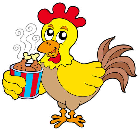 domesticated: Cartoon chicken with meal box - vector illustration.