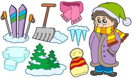 shovels: Collection of winter images - vector illustration.