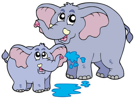 female animal: Female and baby elephants - vector illustration.