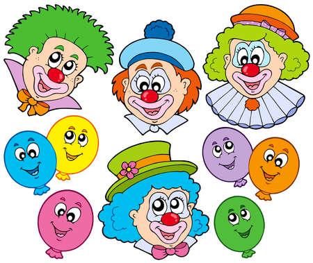 showman: Colecci�n de divertidos payasos - ilustraci�n vectorial.