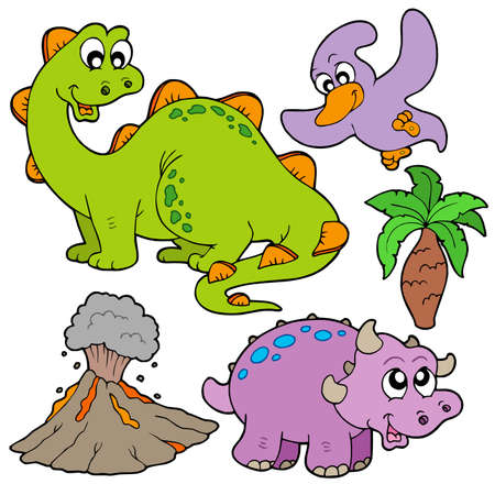 Prehistoric collection on white background - vector illustration. Stock Vector - 6370101