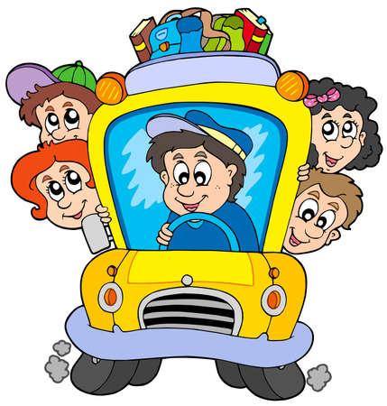 School bus with children - vector illustration. Vector