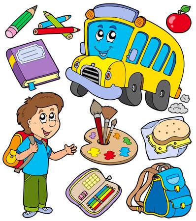 objetos escolares: Colecci�n de objetos de la escuela - ilustraci�n vectorial.  Vectores