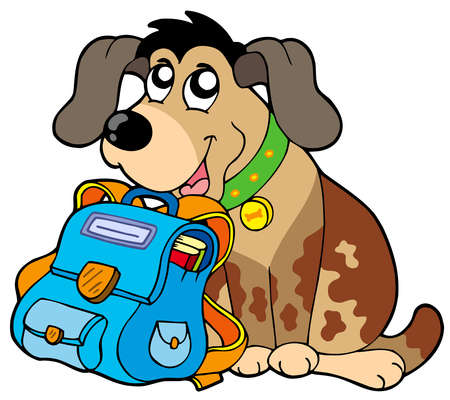 Sitting dog with school bag - vector illustration. Vector