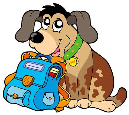educative: Sitting dog with school bag - vector illustration.