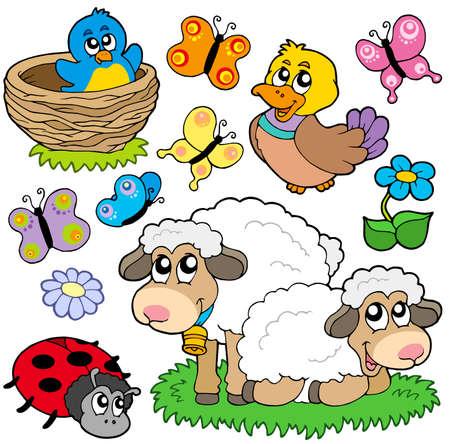 Divers animaux printemps - illustration vectorielle.