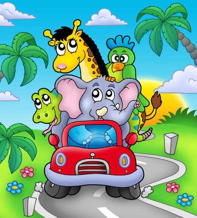 carro caricatura: Animales africanos en coche en carretera - ilustraci�n de color.