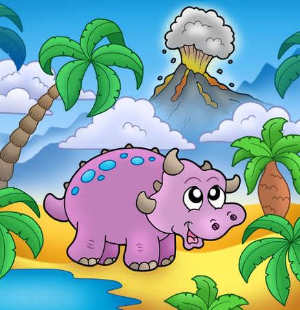 Dinosaurio de dibujos animados con el volcán - ilustración de color. Foto de archivo - 6370083