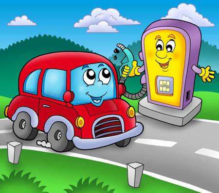 Cute car at gas station - color illustration. illustration