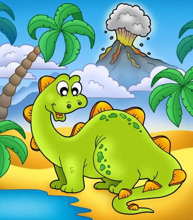 dinosaurio caricatura: Lindo dinosaurio con volc�n - ilustraci�n de color.