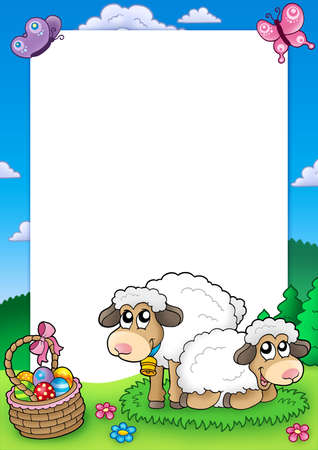 Easter frame with cute sheep - color illustration. Stock Illustration - 6370071