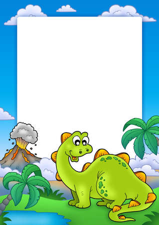 prehistory: Frame with cute dinosaur - color illustration.