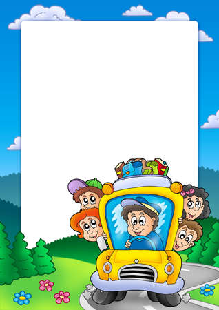 Frame with school bus - color illustration. Stock Illustration - 6370075