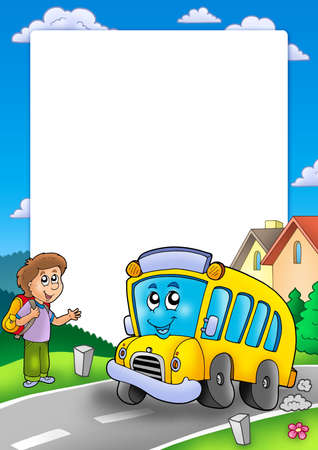 Frame with school bus and boy - color illustration.
