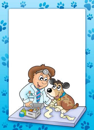 Frame with sick dog at veterinarian - color illustration. illustration