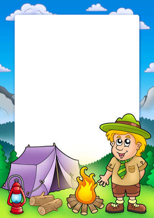 boy scouts tent: Frame with small scout - color illustration.