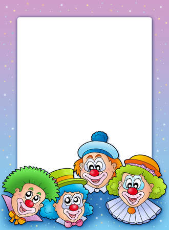 Frame with various clowns - color illustration. illustration