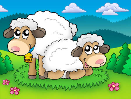 Pair of cute sheep on meadow - color illustration. Stock Illustration - 6370081