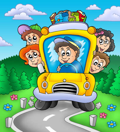 elementary age: School bus on road - color illustration. Stock Photo