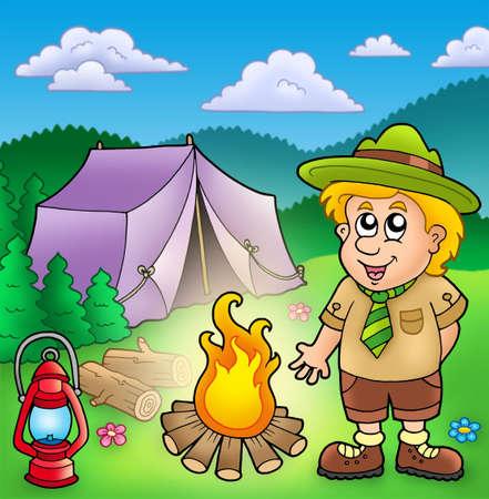 Pequeño scout con el fuego y la carpa - ilustración de color. Foto de archivo - 6370094