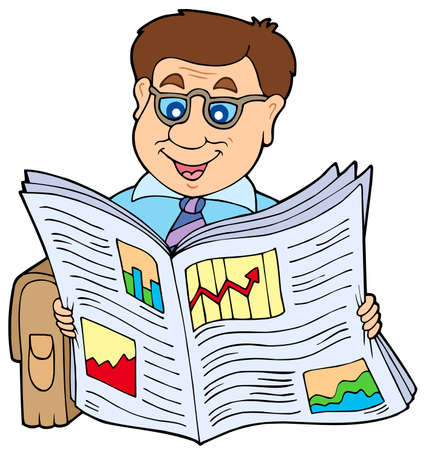 Businessman reading newspaper - vector illustration. Vector
