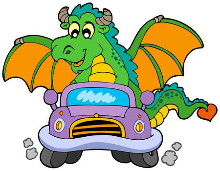 Cartoon dragon driving car - vector illustration. Vector