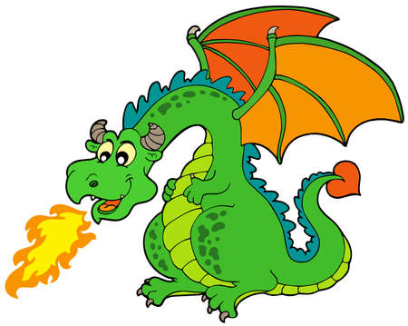 dragon cartoon: Cartoon fire dragon - vector illustration.