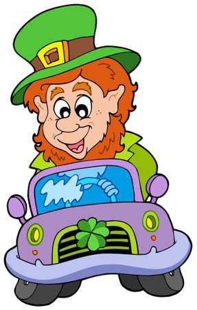 Cartoon leprachaun driving car - vector illustration.