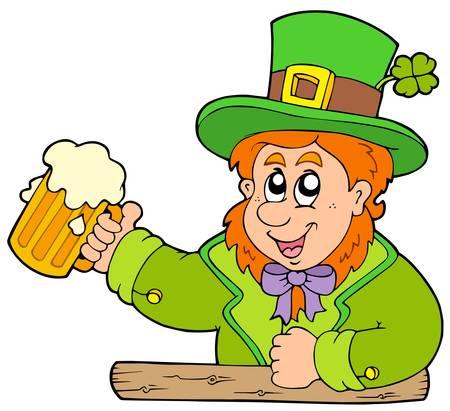Cartoon leprechaun with beer - vector illustration. Stock Vector - 6520531