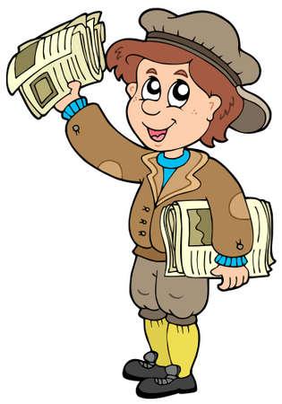 Cartoon paperman on white background - vector illustration. Stock Vector - 6520528