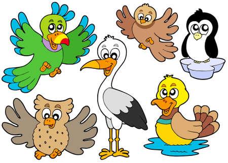 Cute birds collection 2 - vector illustration. Ilustração