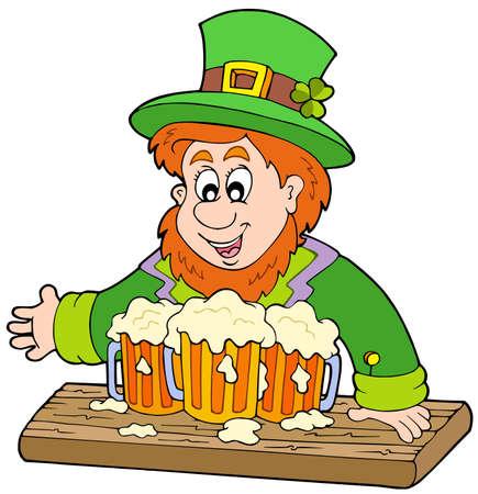 Leprechaun with three beers - vector illustration. Stock Vector - 6520541