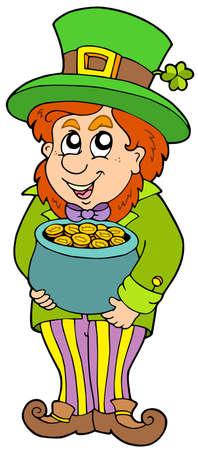 Leprechaun with treasure pot - vector illustration. Stock Vector - 6520512